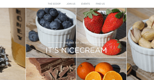 Strikingly example website - Nice Cream Factory