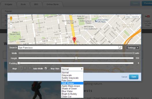 Yola - Google Maps Widget