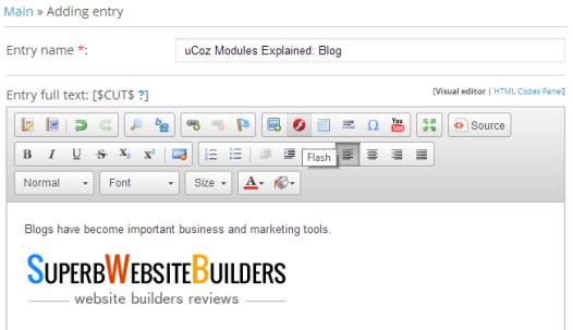 uCoz Blog Module - Adding an Entry