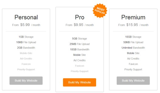 WebsiteBuilder - Pricing