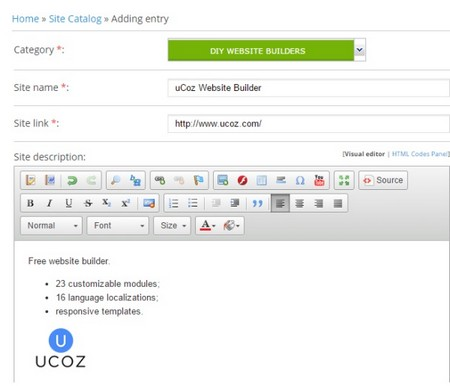 uCoz Site Catalog - Adding Entries