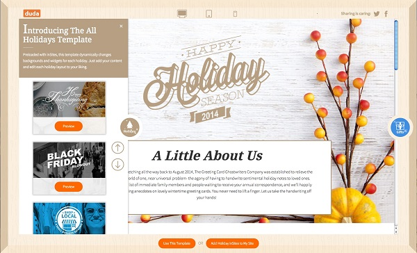 The All Holidays Template from Duda
