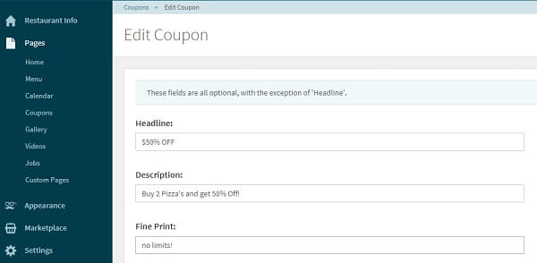 Letseat coupon editor