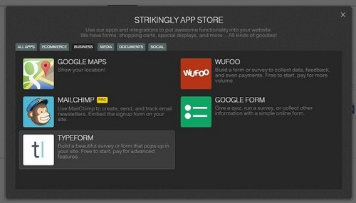 Strikingly App Store