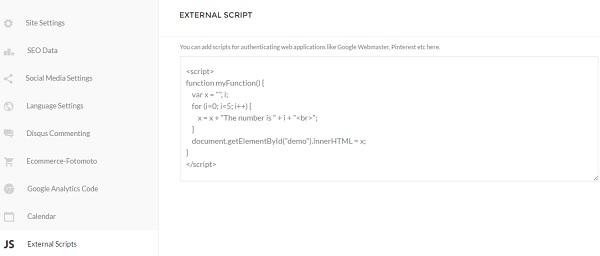 Pixpa Website Builder - External JS