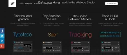 Webydo typeface options