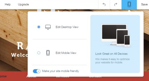 Wix mobile view switcher