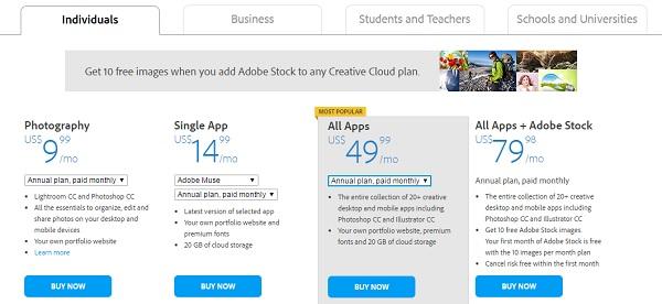 Adobe Muse Pricing
