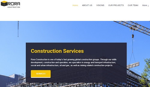Rora Construction - uKit Website Examples