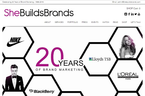 She Builds Brands - Wix website examples