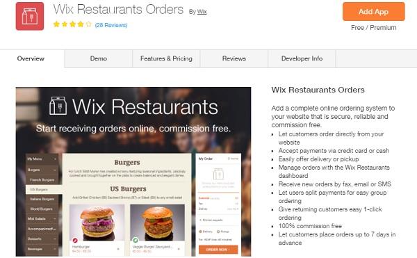 Wix Restaurants