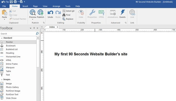90 Second Website Builder Editor