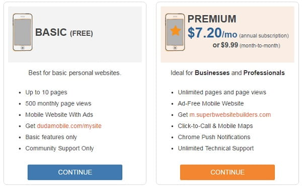 Duda Mobile Pricing