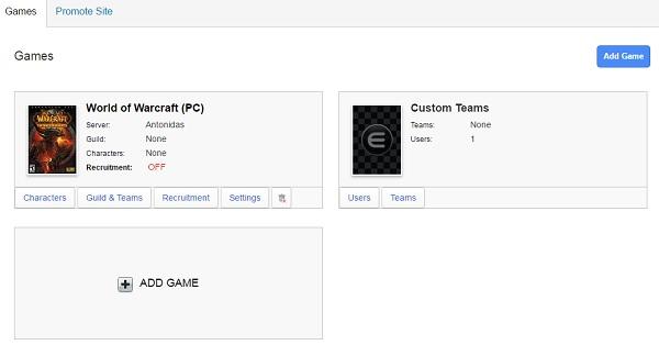 Enjin Website Builder - DashBoard - Games