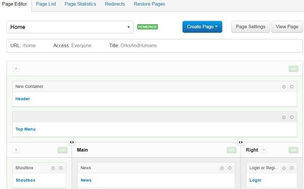 Enjin Website Builder - DashBoard - Pages