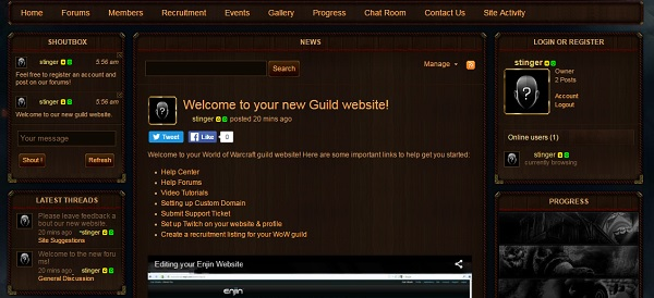 Enjin Website Builder - WOW Guild Website