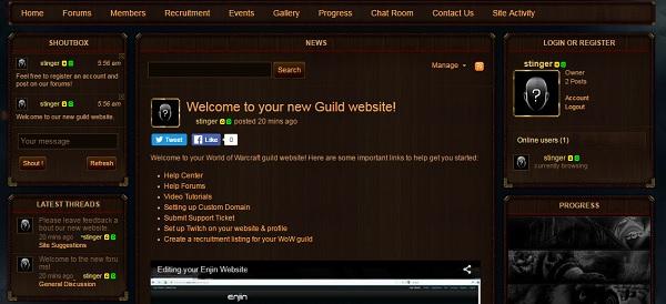 Enjin Website Builder - WOW Guild Website