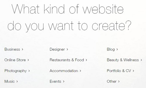 Select a website type