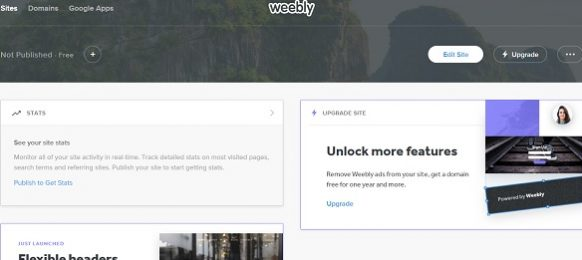 Weebly Dashboard Screen