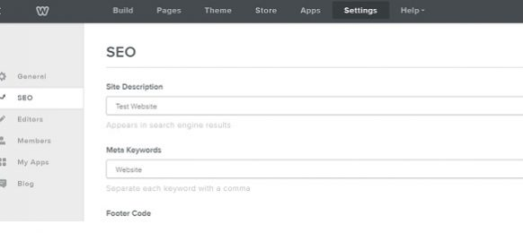 Weebly Settings Screen