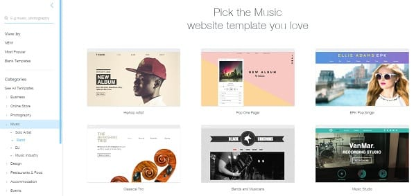 Wix Music Website Templates