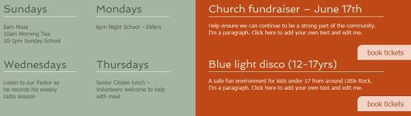 Church website - niche information