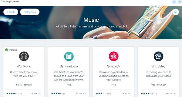 Wix Musician App Market