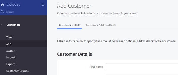 Bigcommerce Dashboard Customers