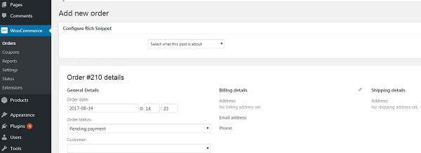 WordPress Woocommerce Orders