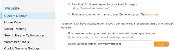 Zenfolio Website Settings