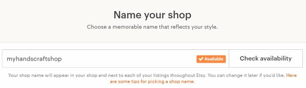 Etsy Name Your Shop