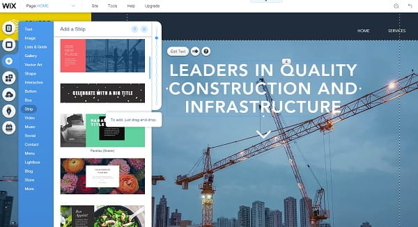 Wix Editor Construction Site