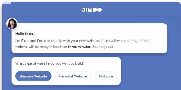 Jimdo Dolphin AI - Start Dialog