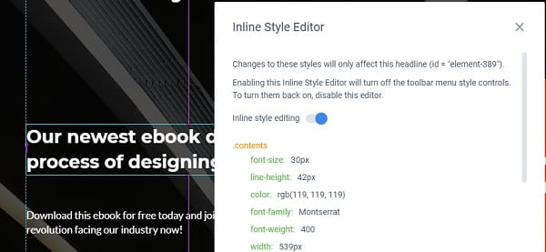 Instapage CSS Editor