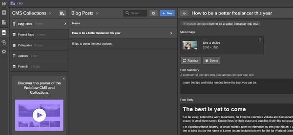 Webflow Blog Editor