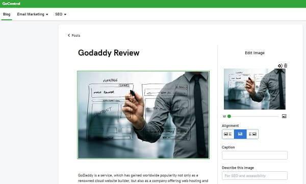 GoDaddy Blog Editor