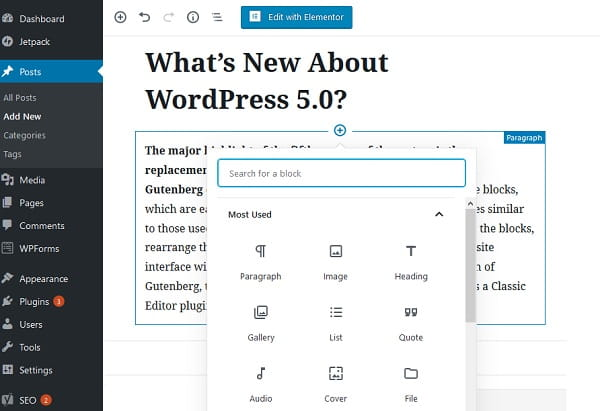 WordPress 5.0 Gutenberg Editor