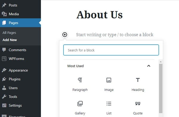 WordPress Page Editor