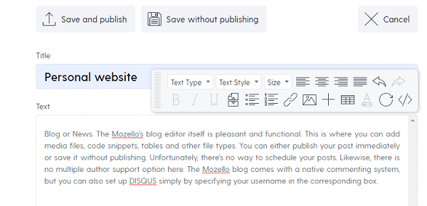 Mozello Blog Post Editor