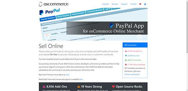 osCommerce - Self-hosted CMS for Creating Online Stores