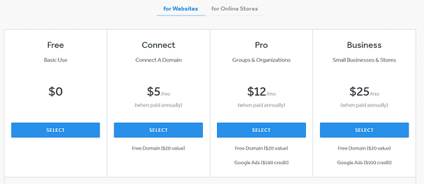 Weebly Websites Pricing