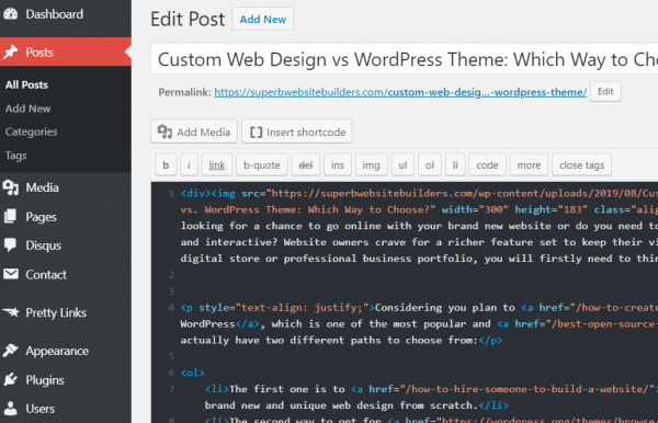 WordPress CMS Interface