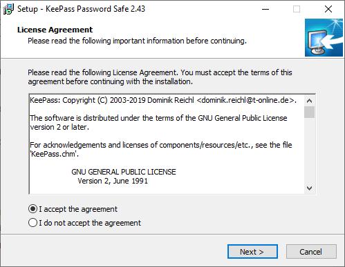KeePass install