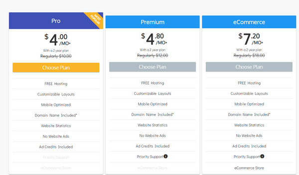 Sitebuilder plans & pricing