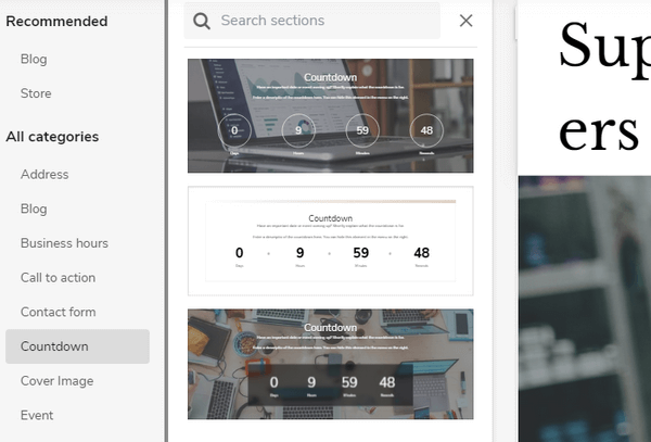 Sitebuilder website customization