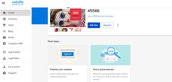 WebsiteBuilder dashboard