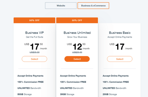 Wix Hotels pricing