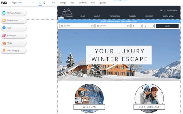 Wix hotel website editor