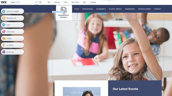 Wix school website editor