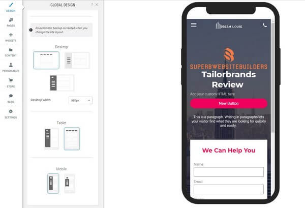 Tailor Brands Phone